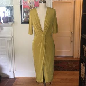 ASOS Chartreuse Plunging Front Bodycon